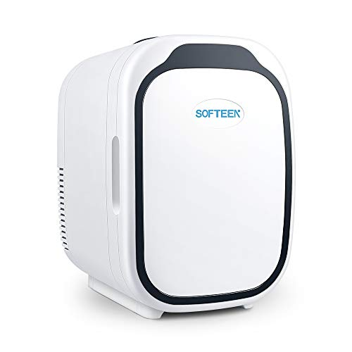 softeen Mini Fridge with 6 Liters Capacity for Bedroom/Skin Care/Breast-Milk Storage/Medications, Portable Freon-Free Cooler and Warmer, 2 Plugs for Home Outlet and 12V Car Charger