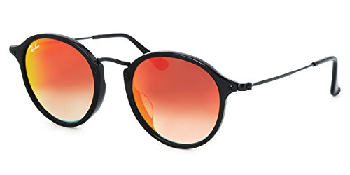 Ray-Ban RB2447 gafas de sol w/espejo degradado Lente Rojo 9014W RB 2447 unisex-adulto Negro brillante Grande