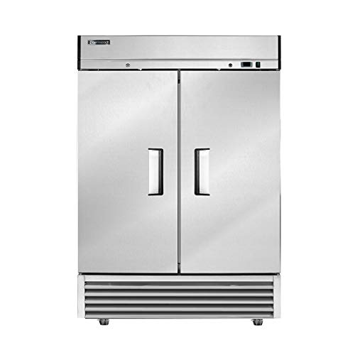 BLUELINETECH Reach-in Commercial Freezer 2 Door Stainless Steel Freezer with LED Lighting - 49 cu.ft for Restaurant Home, and Business