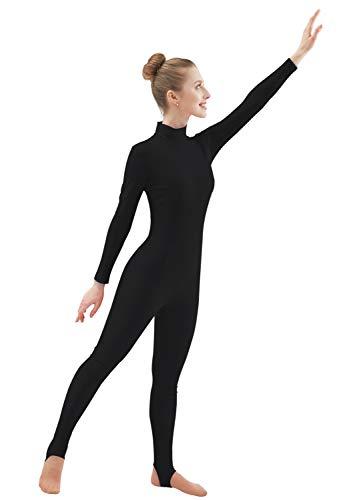 Ensnovo Womens Spandex Turtleneck Front Zipper Long Sleeve Stirrup Foot Unitard Black,L