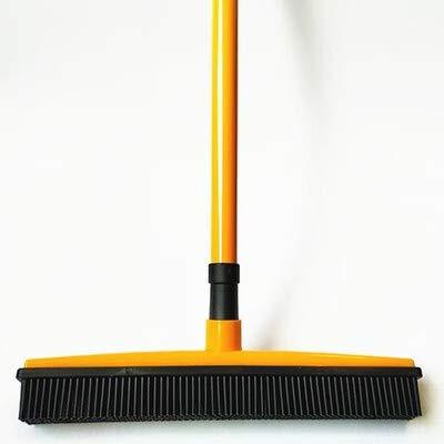Multifunctionele telescopische bezem magie rubber bezem schoner huisdier ontharing borstel huisvloer stofwisser & Rolveger (Color : Orange)