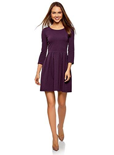 oodji Ultra Damen Tailliertes Kleid mit Ausgestelltem Rock, Violett, DE 34 / EU 36 / XS
