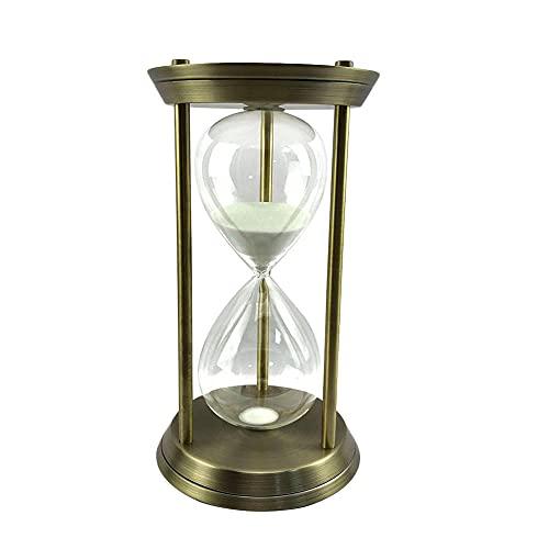 FHSMRING 15 30 60 minutos reloj de arena de arena transparente reloj de arena temporizadores marco de hierro, regalo moderno decoración del hogar ornamento temporizadores (color: grande 30 minutos)