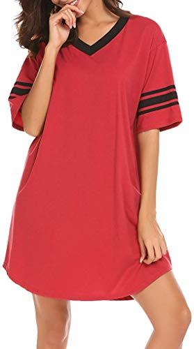 Chemise de nuit surdimensionnée en coton à manches courtes pour femme - Rouge - L