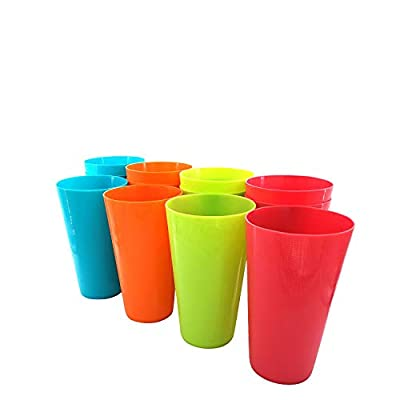 Large Plastic Cups Set Of 12 BPA-Free Dishwasher Safe Colorful Unbreakable 35-Ounce Mixed Drinkware Tumbler