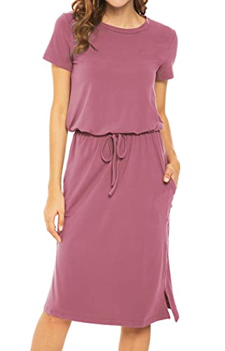 Womens Plain Solid Short Sleeve Casual Pockets Midi Dress with Belt PurpleRed L