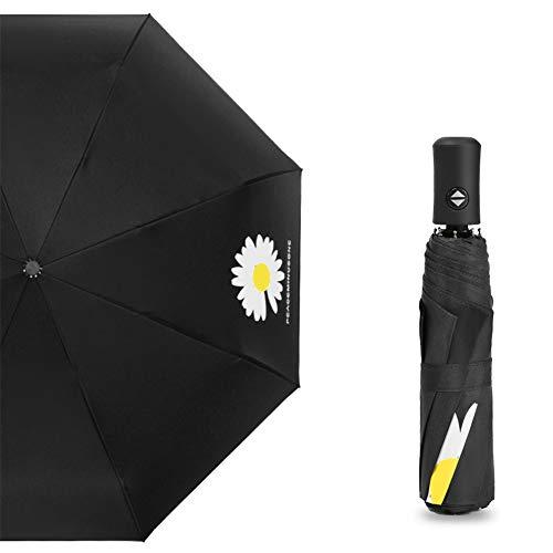 QINGQING Sombrilla Totalmente automática,Protector Solar de plástico Negro y sombrilla a Prueba de Sol,llueva o truene,la Hoja de Loto Tiene un Efecto Repelente al Agua,y se Seca en un Solo batido