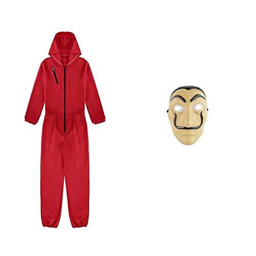 Furein Kit de la Casa de Papel con Mascara, Disfraz de Ladrn, Salvador Dal Traje de Cosplay para Carnaval Navidad Halloween, Ropa Sudadera con Capucha y Mono (XL)