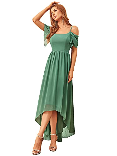Ever-Pretty Vestido de Cóctel Alto Bajo Largo para Mujer A-línea sin Hombros de Tirante Gasa Elegantes Verde Salvia 44