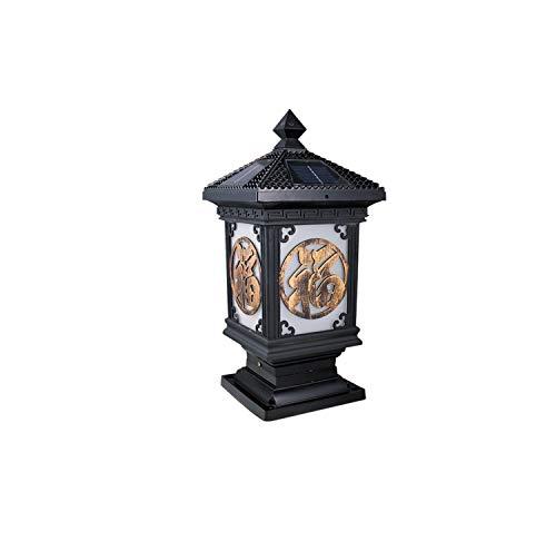 GUOGUOSM Estilo europeo Luz de poste de metal de aluminio vintage Retro E27 Lámpara de pilar impermeable al aire libre Luz de columna de pasillo Luz de césped de patio Seguridad de escritorio externa