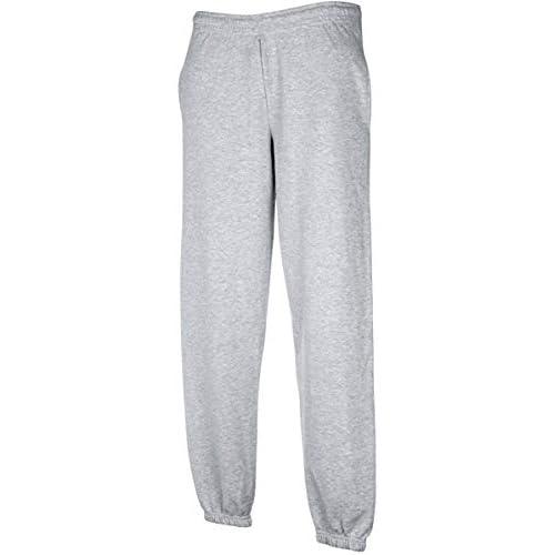 pantalone tuta FRUIT OF THE LOOM felpato con elastico e cordoncino in vita tasche ed elastico caviglie gr.280 (TG.S, GRIGIO)