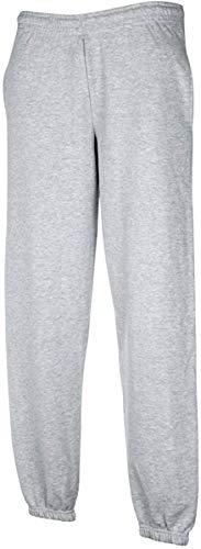 pantalone tuta FRUIT OF THE LOOM felpato con elastico e cordoncino in vita tasche ed elastico caviglie gr.280 (TG.L, GRIGIO)