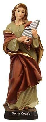 Paben Articoli Religiosi Estatua Santa Cecilia de resina cm. 20 Patrón de la música, los músicos y los cantantes