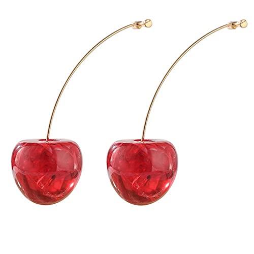 5 Pairs Elegant Geometric Round Red Color Sweet Drop Earrings for Women Pearl Flower Cherry Wedding Earrings Tassel Brincos Jewelry