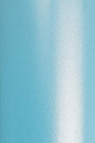 20 x Perlmutt-Blau 250g Karton DIN A4 210x297 mm Aster Metallic Blue glänzend Pearlkarton Perl-Glanz-Karton Metallic-Effekt Perlmuttglanz ideal für Hochzeitskarten, Einladungskarten, Visitenkarten