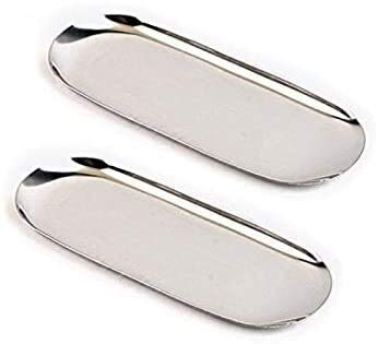 2 Stück Edelstahl-Handtuch Tray Aufbewahrungsbehälter-Fruchtschalen Kosmetik Schmuck Organizer, Silber, Oval Platter (Color : -)