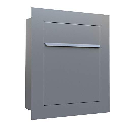 Unterputz-Briefkasten, Design Einbaubriefkasten Bari Grau Metallic - Bravios