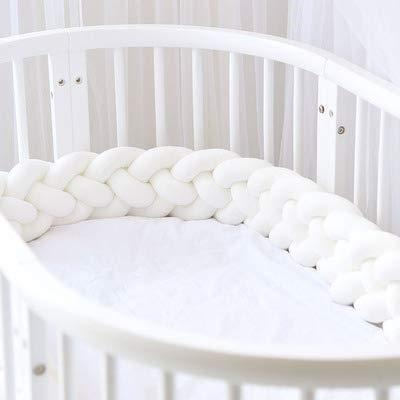 Parachoques de cama Cuna trenzada hecha a mano Guardabarros Bebé Guardia principal Parachoques Nudo Trenza Almohada Cojín Almohada decorativa para bebé Guardería Cuna Ropa de cama-Blanco