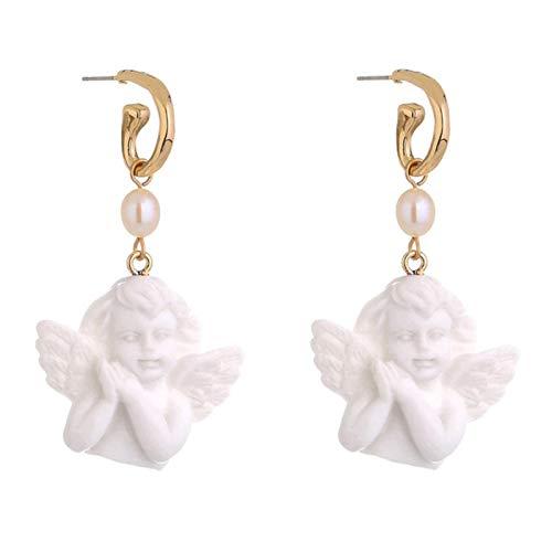 QIN Bonitos Pendientes de ángel de Piedra Blanca para Mujer niña 2021 Color Dorado Metal ala de ángel Faxu Perla Pendientes Colgantes joyería de Fiesta