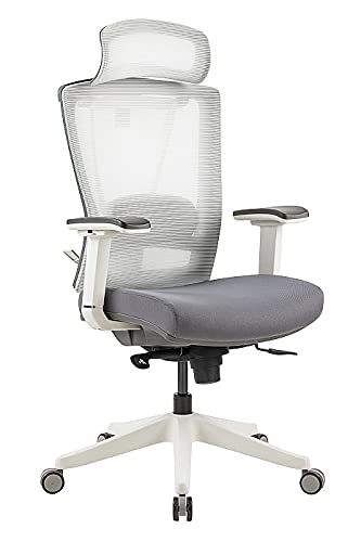 Ergonomischer Bürostuhl mit Netz-Rückenlehne, Sitzschiene, Lendenwirbelstütze & hellem Rahmen | bis 150kg belastbar | Contract Plus 24/7 | Grau