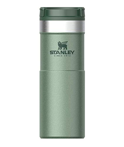 Stanley NeverLeak Travel Mug .47L / 16OZ Hammertone Green ? Leakproof - Tumbler for Coffee, Tea & Water - BPA - Stainless-Steel Thermo Cup - Rotating lid Covers Drink - Dishwasher Safe
