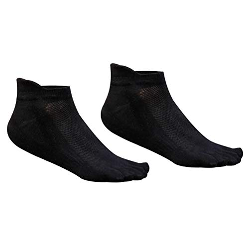 FENICAL Toe Socks 5 Finger Men Coton Low Cut Athletic Running No Show Mesh Wicking 1 Paire (Noir)