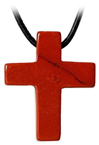 Kaltner Präsente Leren ketting voor dames en heren, met kruishanger van de edelsteen jaspis rood (30 x 25 x 7 mm)