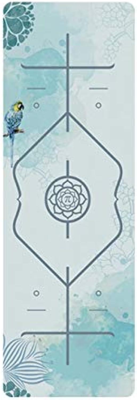 Edmend Tropische TPE-Yogamatte aus Veloursleder mit Palmenaufdruck. rutschfeste Gewichtsverlust-Fitness-Gymnastikmatte