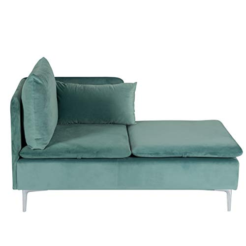 MELLCOM Convertible Sectional Sofa Couch, Modern Design Chaise Lounge Chair of Sectional Sofa with Modern Velvet Fabric and Metal Feet for Living Room Green