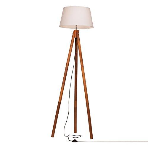 Brilliant 94867/70Jutland lampada da terra, in legno, 60W, E27, Crema/Bianco, 60x 60x 165cm