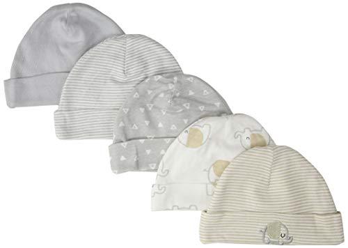 GERBER Baby 5-Pack Caps, Elephant, Newborn