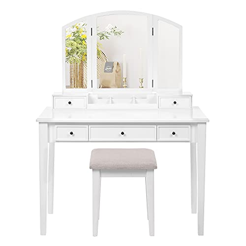 VASAGLE Vanity Set, Dressing Table Set with Tri-Fold Mirror, Large Table Top, 5 Drawers, Removable Organizer, Cushioned Stool, White URDT130W01