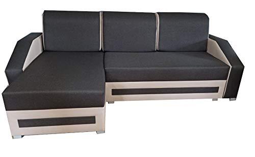 PM Ecksofa Schlaffunktion Bettfunktion Couch L-Form Polstergarnitur Wohnlandschaft Polstersofa mit Ottomane Couchgranitur - ATILOS (Schwarz + Weiß, Ecksofa Links)