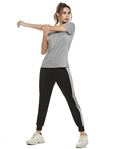 Aibrou 2 Pezzi Tute da Ginnastica Donna Tute Sportive Yoga Fitness Palestra Running Jogging Completi Sportivi Abbigliamento