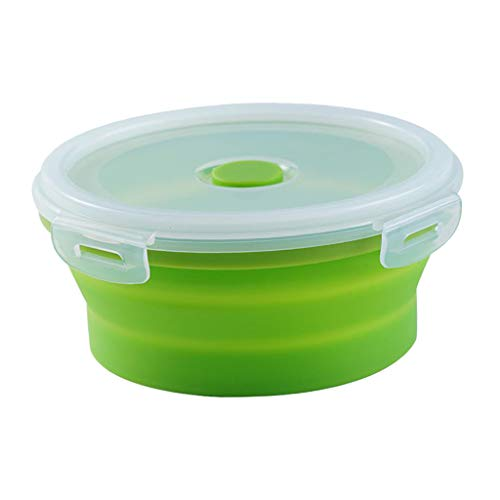 #N/A Round Food Container Storage Collapsible Camping Bowl Microwave Refrigerator - Multicolor, XL 1200ML green