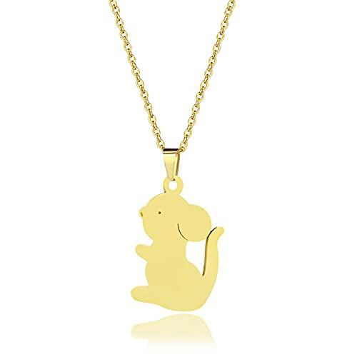 YQMR Colgante Collar para Mujer,Elegante Collar De Mujer Moda Grabado Hollow Mouse Animal Colgante Dorado Joyería Mamá Cumpleaños Amistad Familia