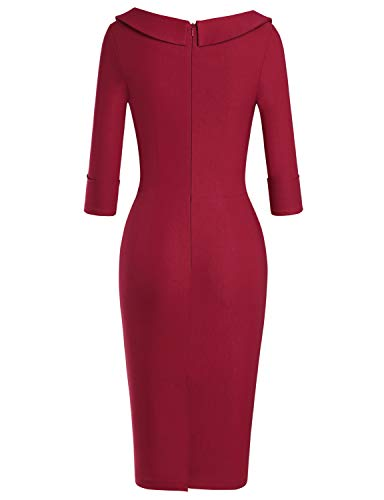 MUXXN Lady Retro 1950s Style Fashion Knee Length Wedding Long Dress for Womens (Burgundy XL)