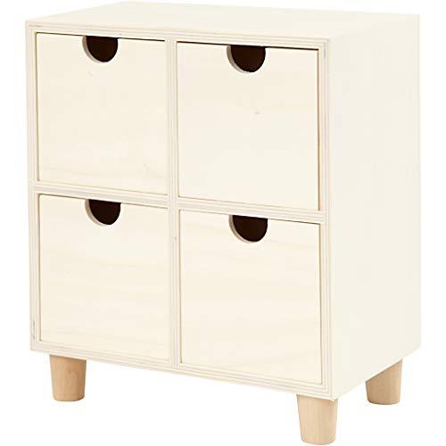 Ladenkast, 4 lades, h: 23 cm, b: 20 cm, triplex, 1stuk, diepte 11,5 cm