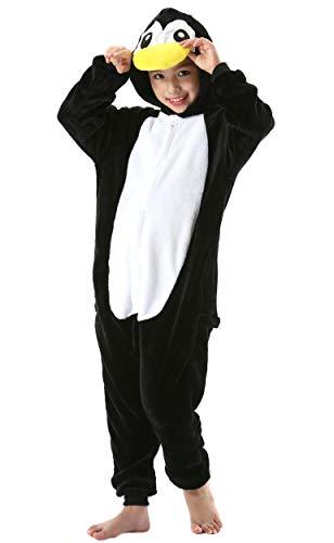 Jumpsuit Onesie Tier Fasching Karneval Halloween Kostüm Kinder Mädchen Junge Sleepsuit Overall Pyjama Unisex Lounge Cosplay Schlafanzug Pinguin Schwarz for Höhe 90-148CM