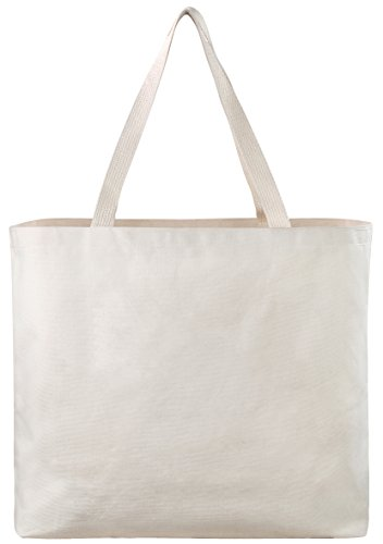 Reusable Canvas Bag - Decorate the Blank Tote Bag with Your Own Custom Design. Double Stitched with Two Sturdy Shoulder Straps. Great Arts and Crafts Project. Made in USA