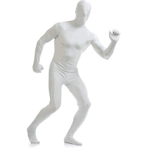 Matissa Costume da seconda Pelle Full Body Tuta Unisex in Spandex per Costume per Uomini e Donne (Bianca, Large)