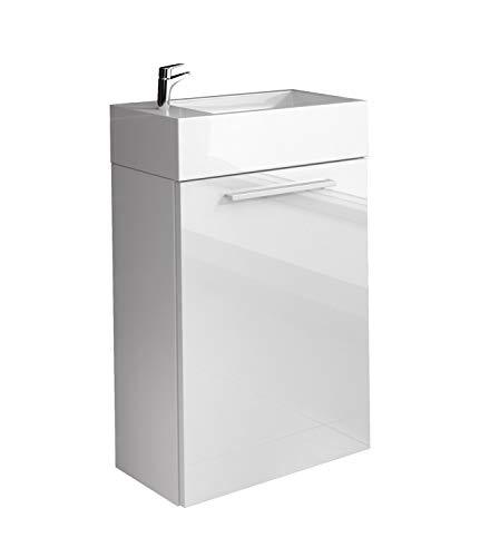 Badezimmer Badmöbel Athene 40x22 cm Hochglanz weiß- Unterschrank Schrank Waschbecken Waschtisch