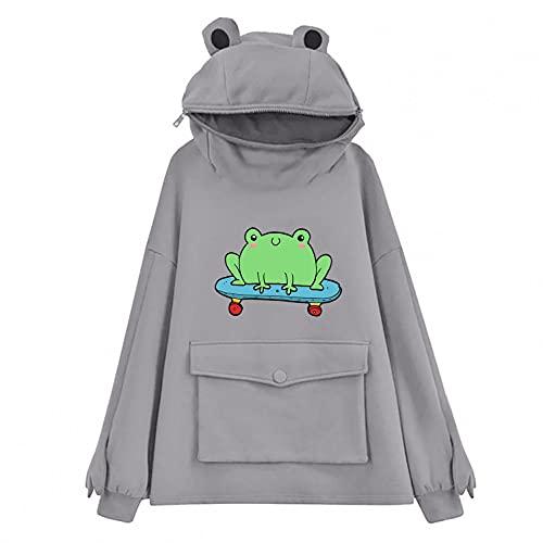 Hotkey Hoodies for Women, Women's Casual Zip Up Cute Frog Pullover Tops Printed Hooded Active Sweatshirts