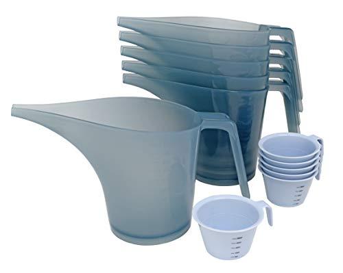 PreOkupied Packung mit 6 Tricherkrügen mit 1 Liter, Lichtgrau, und Packung mit 6 Messbechern mit 60 ml