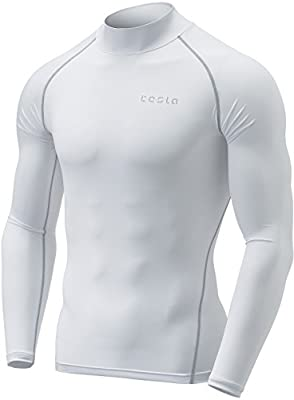 TSLA Men's Thermal Long Sleeve Compression Shirts, Mock/Turtleneck Winter Sports Running Base Layer Top, Thermal Mock Neck(yut32) - White, Medium