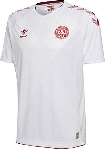 Hummel Sport Hummel Danish National Soccer Team Short Sleeve Away Jersey, White, Small