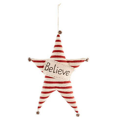 Mud Pie Christmas Star Hangers (Believe), Red, 16 1/4' x 11 1/2'