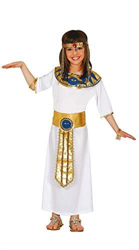 FIESTAS GUIRCA Disfraz Blanco Nefertiti Reina egipcia niña Talla 5-6 años