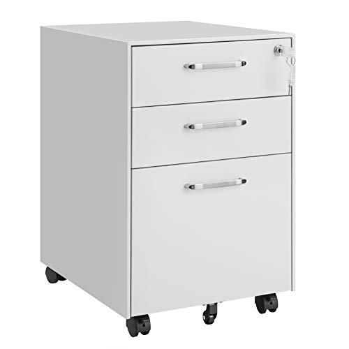 SONGMICS Rollcontainer, abschließbarer Aktenschrank mit Schubladen, Büroschrank mit Rollen, für Akten und Dokumente, mit Hängeregistratur, fürs Büro, Arbeitszimmer, aus Stahl, weiß OFC010W01