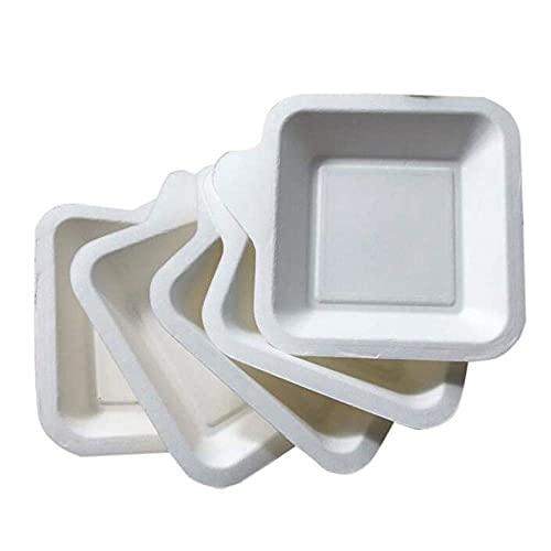 Plato de vajilla desechable de 20 piezas, platos de postre de pastel cuadrado de papel blanco para suministros de fiesta de cumpleaños de boda